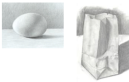 pencil drawings of an egg and a paper bag